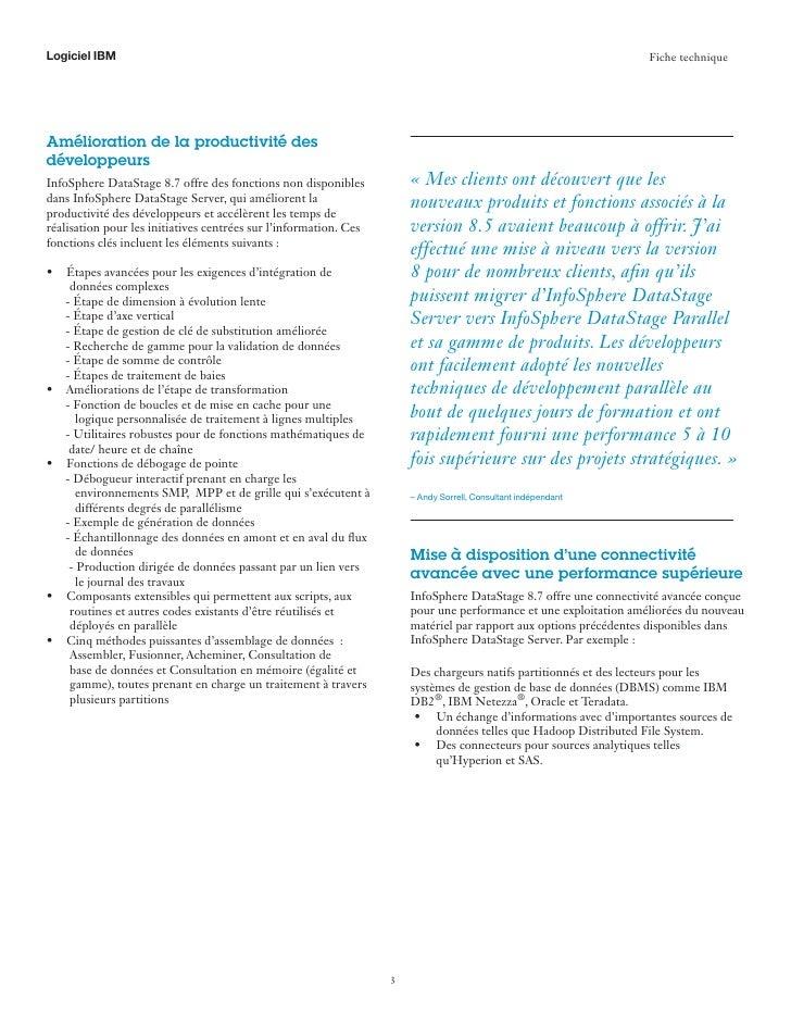 IM France - Avantages d'une mise à niveau vers info sphere datastage 8.7 Slide 3