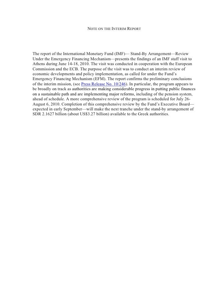 NOTE ON THE INTERIM REPORT     The report of the International Monetary Fund (IMF)— Stand-By Arrangement—Review Under the ...