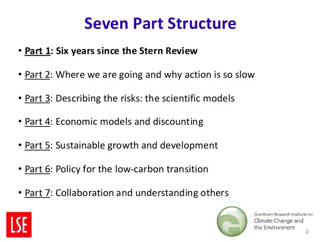 Seven Part Structure• Part 1: Six years since the Stern Review• Part 2: Where we are going and why action is so slow• Part...