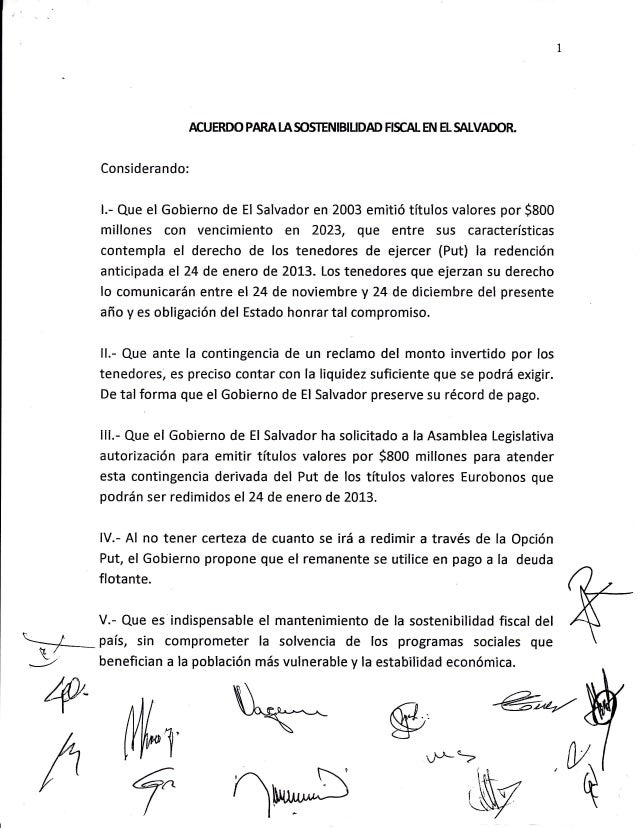 ACUERDO PARA I.A SO§TENIBIUDAD FISCAL EN EL SALVADOR.      Considerando:      l.- Que el Gobierno de   EI Salvador en 2003...