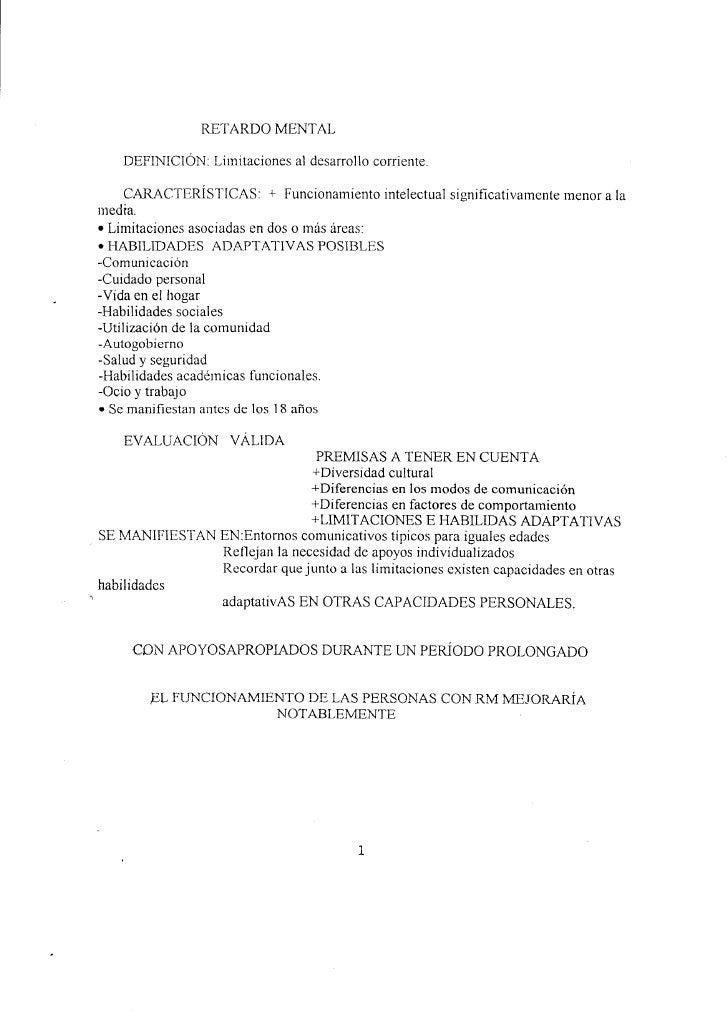 RETARDO MENTAL          DEFINICIÓ}'I: Lirnitaciones al desarrollo corriente.           CARACTERÍSTICAS:         +   Funcio...