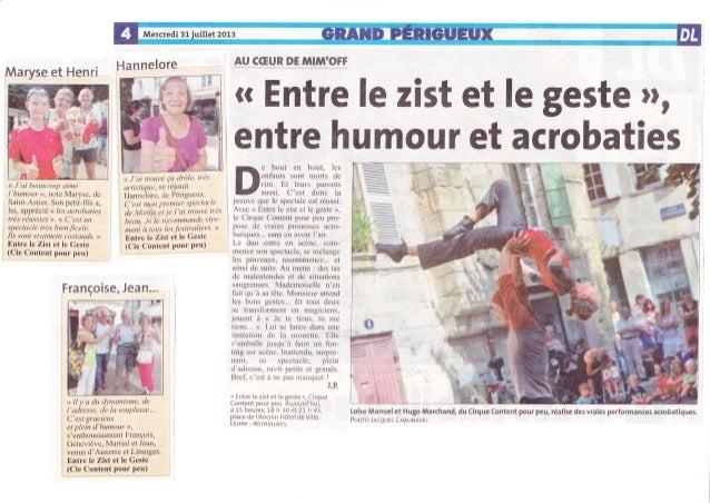 Hannelore ATI Sffi!.r_ry p-ç #ilfiÂ:@ffi Maryse et Henri <<J'ai beaucoup aimé l'humour )), note Maryse, de Saint-Astier. S...