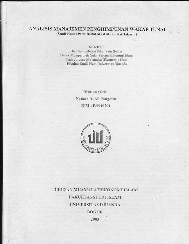 Skripsi Tentang Analisis Pengelolaan Wakaf Tunai Di Indonesia Cover