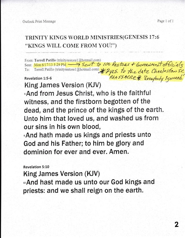 Outlook Print ivfessase Page 1 of 1 TRIF{IT'V KnN GS IVOR.[,D MINIS TR.IE S (GEN E SnS 77 : 6 ''KINGS WtrLL COIVIE FRONI Y...