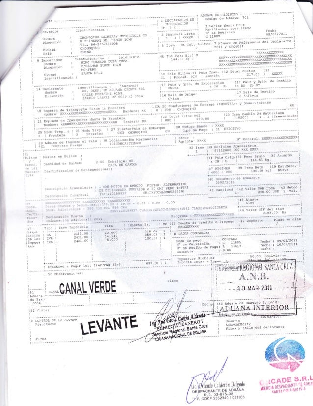 poliza de importacion dui bolivia