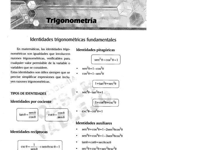 Trigonometría                Identidades trigonométricas fundamentales    En m a t e m á t i c a s , las identidades trigo...
