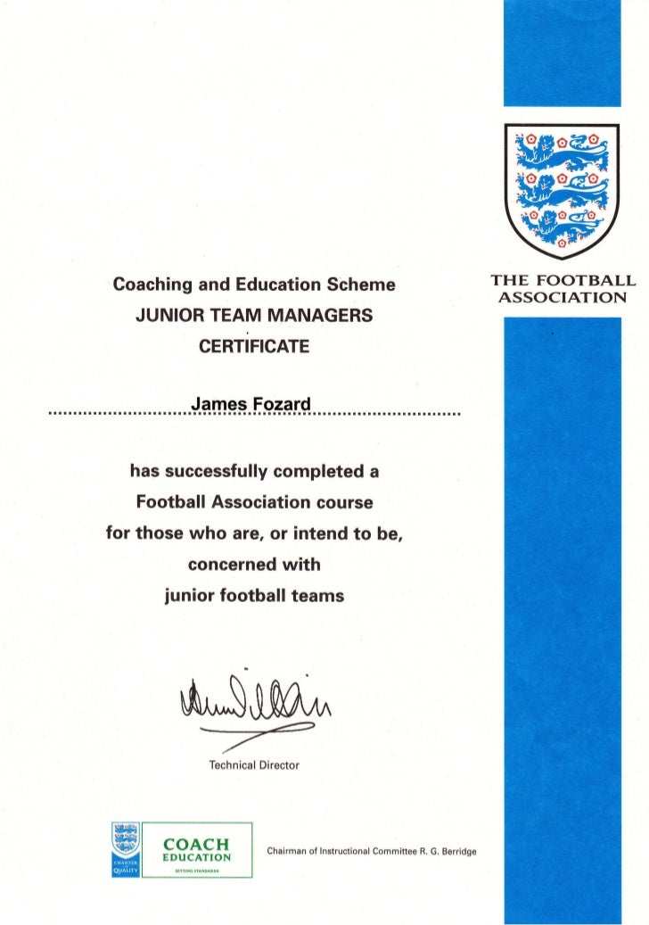 fa certificate team junior coaching football slideshare managers manager upcoming
