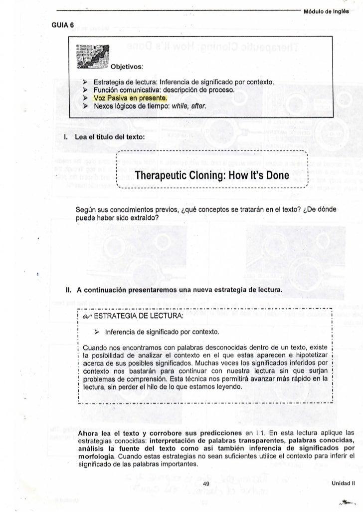 Módulo de InglésGUIA 6                       Objetivos:              >   Estrategia de lectura: Inferencia de significado ...