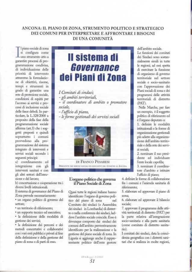 Il sistema di governance dei piani sociali di zona