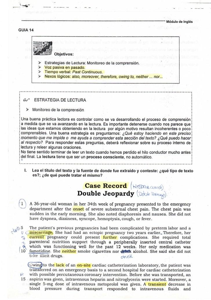 Módulo de Inglés  GUIA 14                                 Objetivos:                     >      Estrategias de Lectura: Mo...