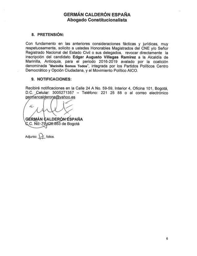 GERMÁN CALDERÓN EsPANA Abogado Constitucionalista  s.  PRETENSIÓN:   Con fundamento en ias anteriores consíderaciones fáct...