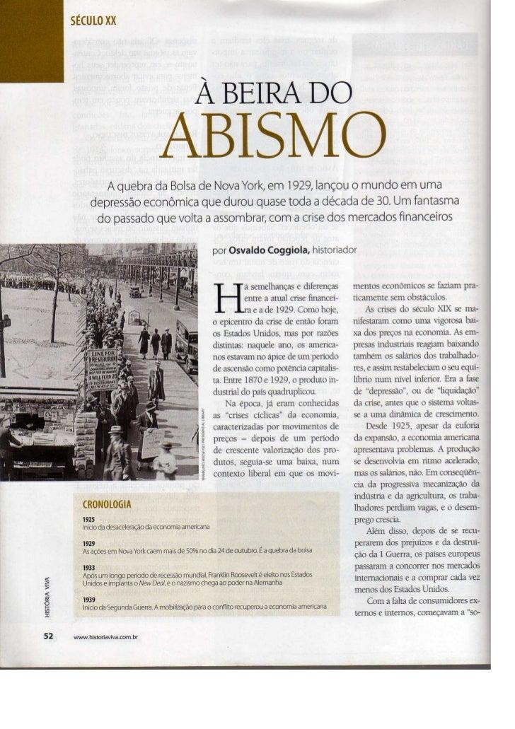 À BEIRA DO ABISMO - Matéria da revista História Viva ed. 62