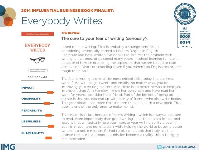 @ROHITBHARGAVA  IMPACT:  THE REVIEW:  The cure to your fear of writing (seriously).  I used to hate writing. That is proba...
