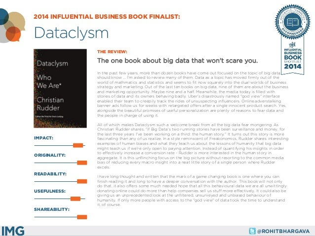 @ROHITBHARGAVA  IMPACT:  THE REVIEW:  The one book about big data that won't scare you.  In the past few years, more than ...