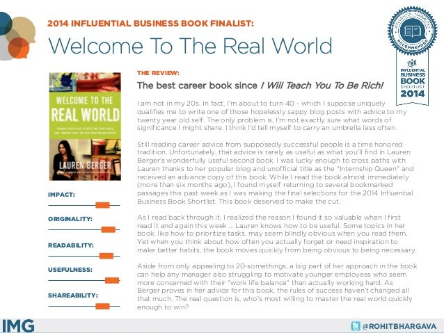 @ROHITBHARGAVA  IMPACT:  THE REVIEW:  The best career book since I Will Teach You To Be Rich!  I am not in my 20s. In fact...