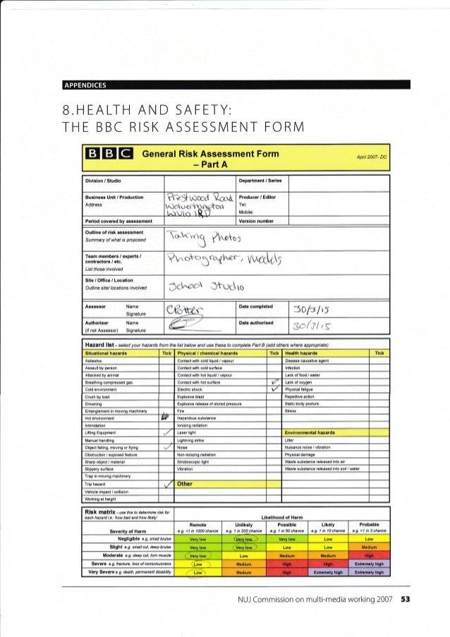 Risk Assesment form