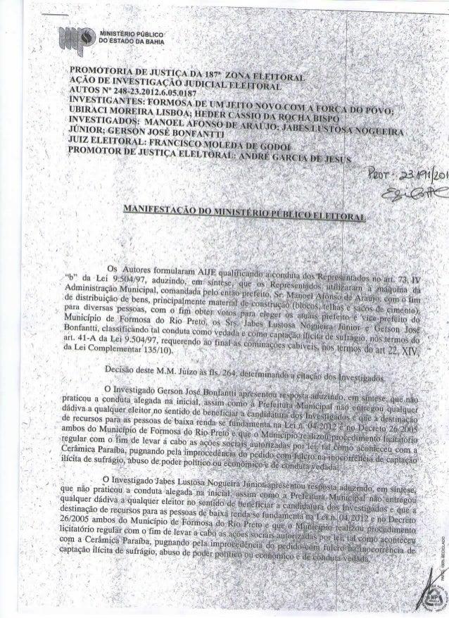 Ministerio público pede cassação de Jabes Júnior
