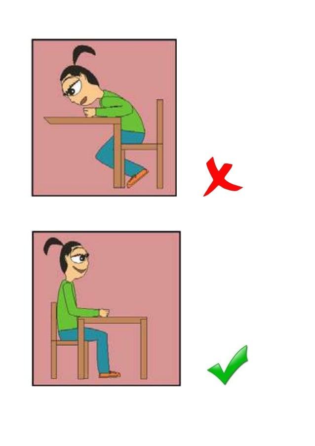 Imágenes malas y buenas posturas en diferentes posiciones Slide 3