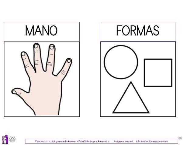 107 MANO FORMAS Elaborado con pictogramas de Arasaac y Picto Selector por Amaya Áriz. Imágenes Internet info.ana@autismona...