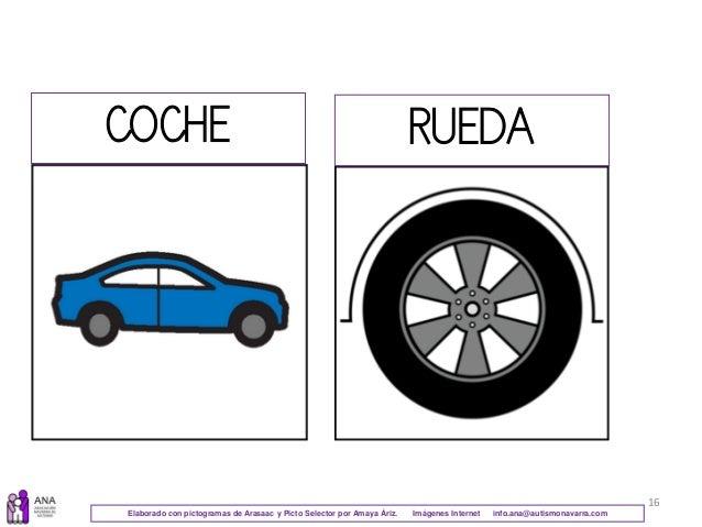 16 COCHE RUEDA Elaborado con pictogramas de Arasaac y Picto Selector por Amaya Áriz. Imágenes Internet info.ana@autismonav...