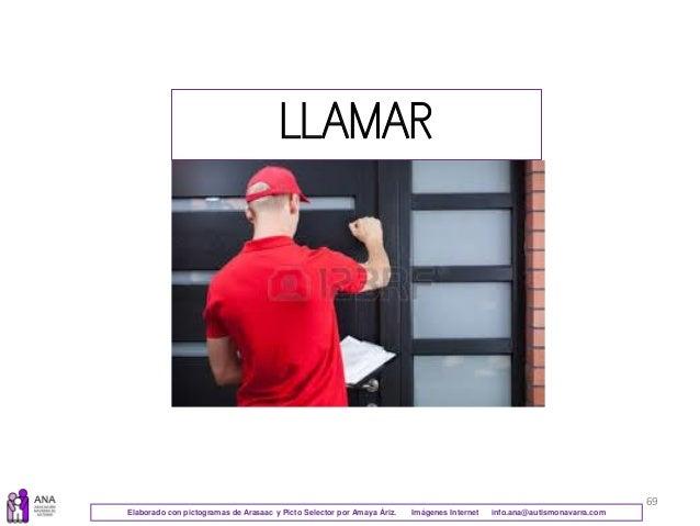 69 LLAMAR Elaborado con pictogramas de Arasaac y Picto Selector por Amaya Áriz. Imágenes Internet info.ana@autismonavarra....