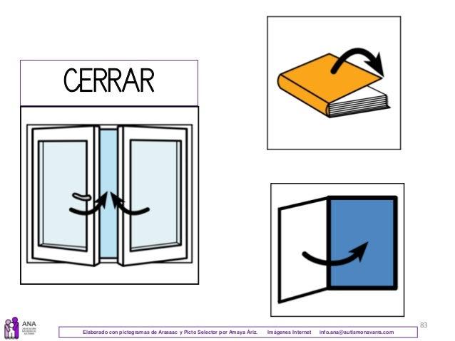 83 CERRAR Elaborado con pictogramas de Arasaac y Picto Selector por Amaya Áriz. Imágenes Internet info.ana@autismonavarra....