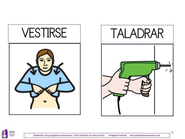 92 VESTIRSE TALADRAR Elaborado con pictogramas de Arasaac y Picto Selector por Amaya Áriz. Imágenes Internet info.ana@auti...