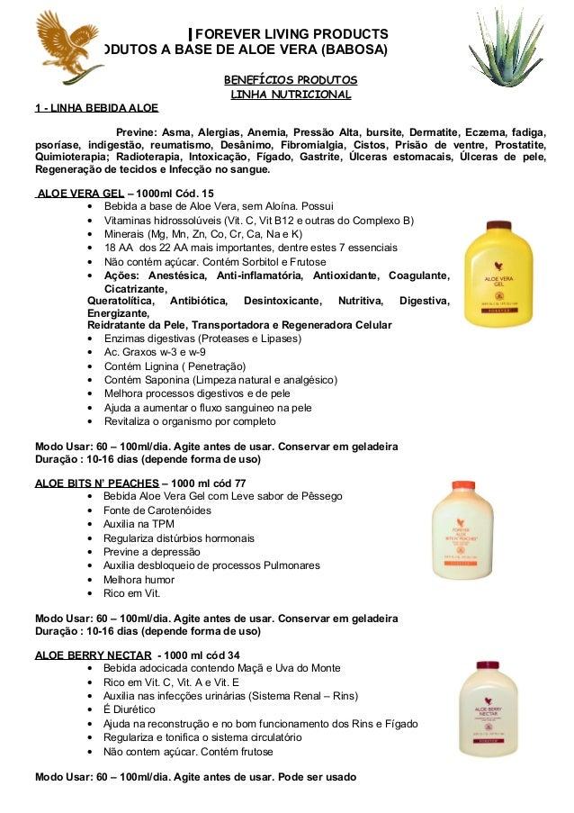 FOREVER LIVING PRODUCTS PRODUTOS A BASE DE ALOE VERA (BABOSA) BENEFÍCIOS PRODUTOS LINHA NUTRICIONAL 1 - LINHA BEBIDA ALOE ...