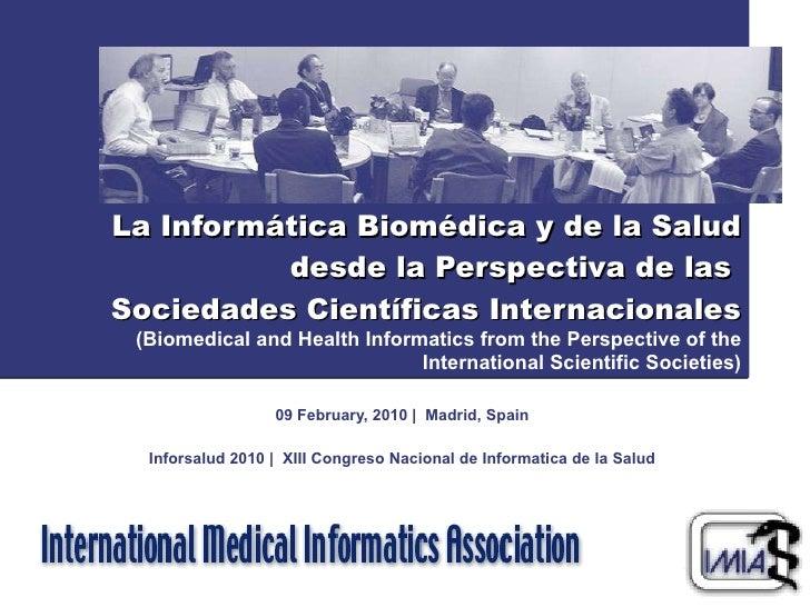 ) La Informática Biomédica y de la Salud desde la Perspectiva de las  Sociedades Científicas Internacionales (Biomedical a...