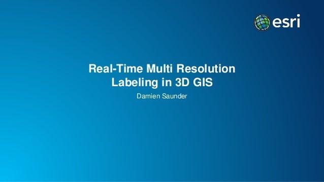 Real-Time Multi Resolution Labeling in 3D GIS Damien Saunder