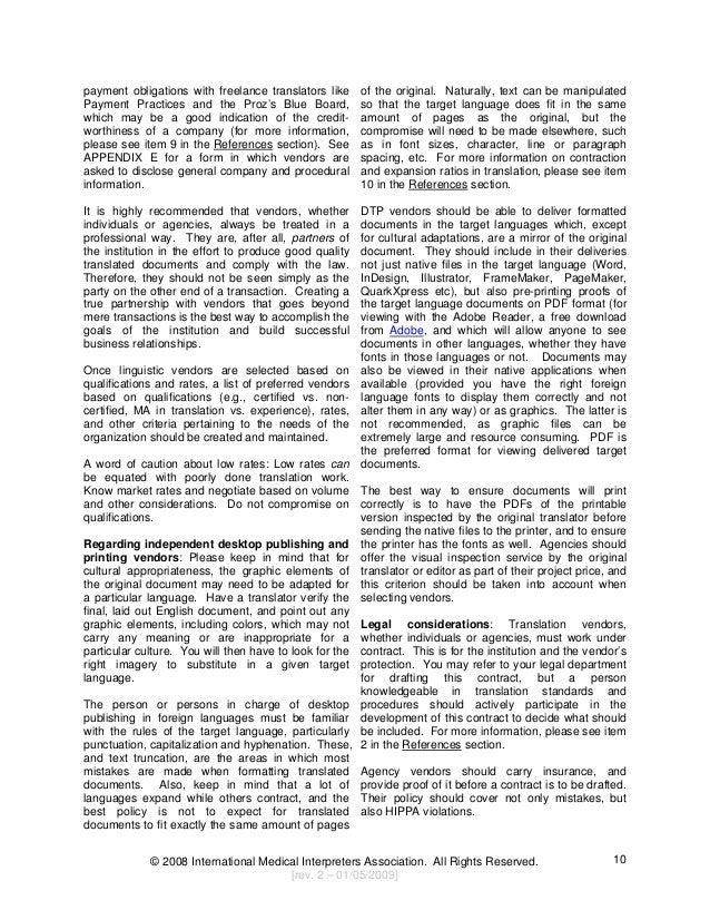 IMIA Medical Translation Guide