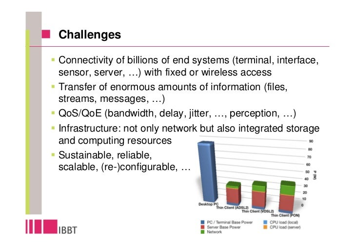 Challenges  Connectivity of billions of end systems (terminal, interface, sensor, server, …) with fixed or wireless access...