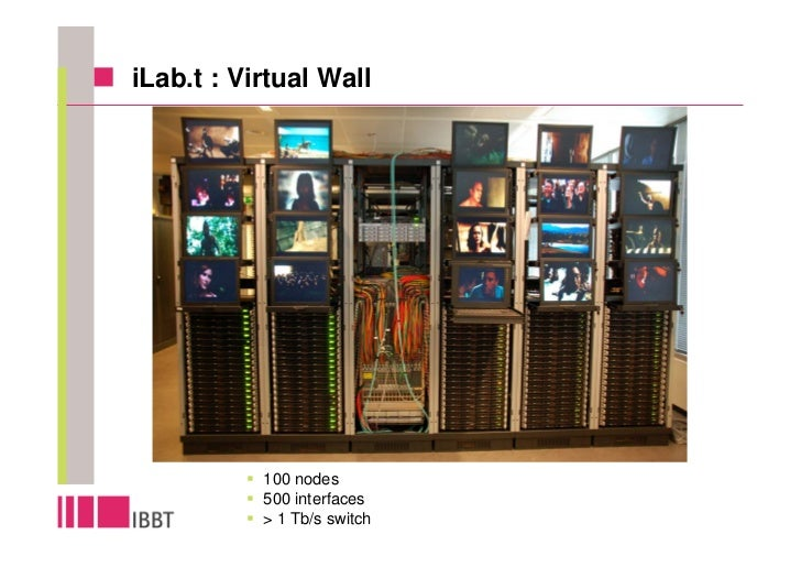 iLab.t : Virtual Wall                100 nodes            500 interfaces            > 1 Tb/s switch