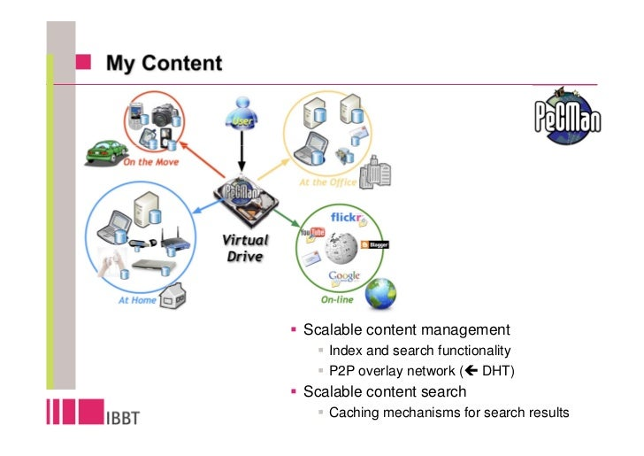 Scalable content management    Index and search functionality    P2P overlay network ( DHT) Scalable content search    Cac...