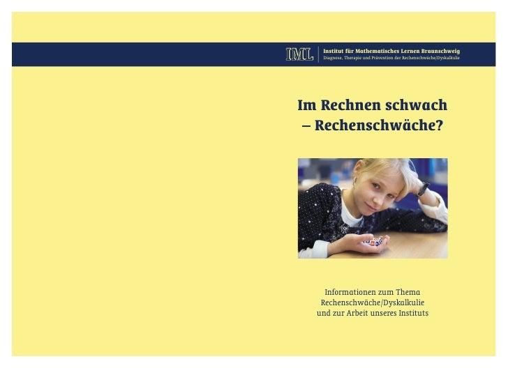 IML    Institut für Mathematisches Lernen Braunschweig        Diagnose, Therapie und Prävention der Rechenschwäche/Dyskalk...