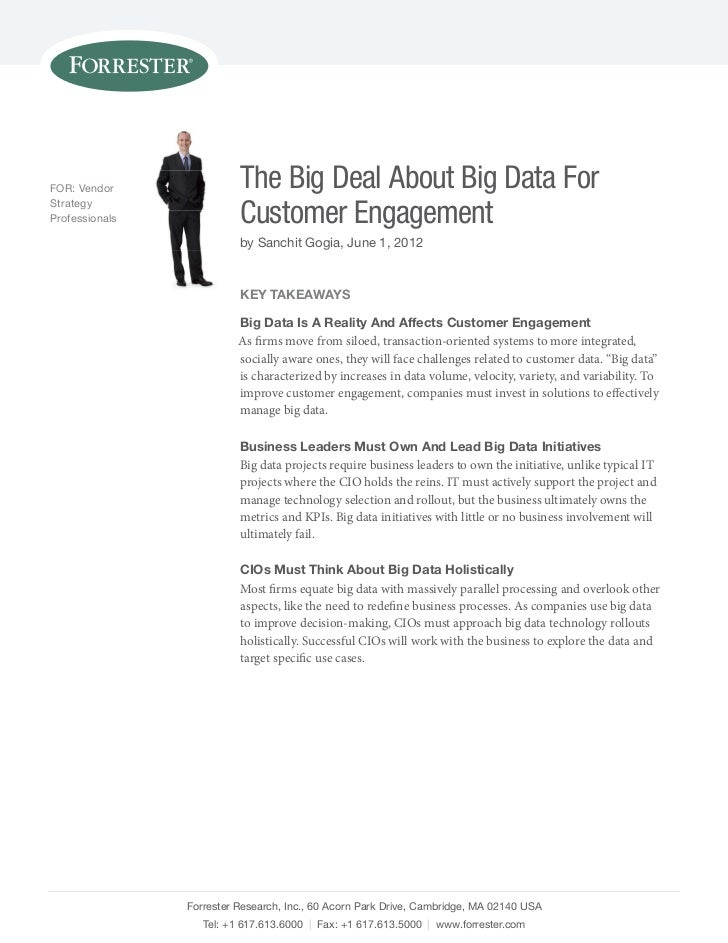 FOR: Vendor               The Big Deal About Big Data ForStrategyProfessionals             Customer Engagement            ...