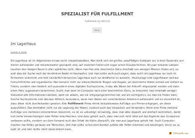 SPEZIALIST FÜR FULFILLMENT                                                              Fulfillment by GECCO              ...