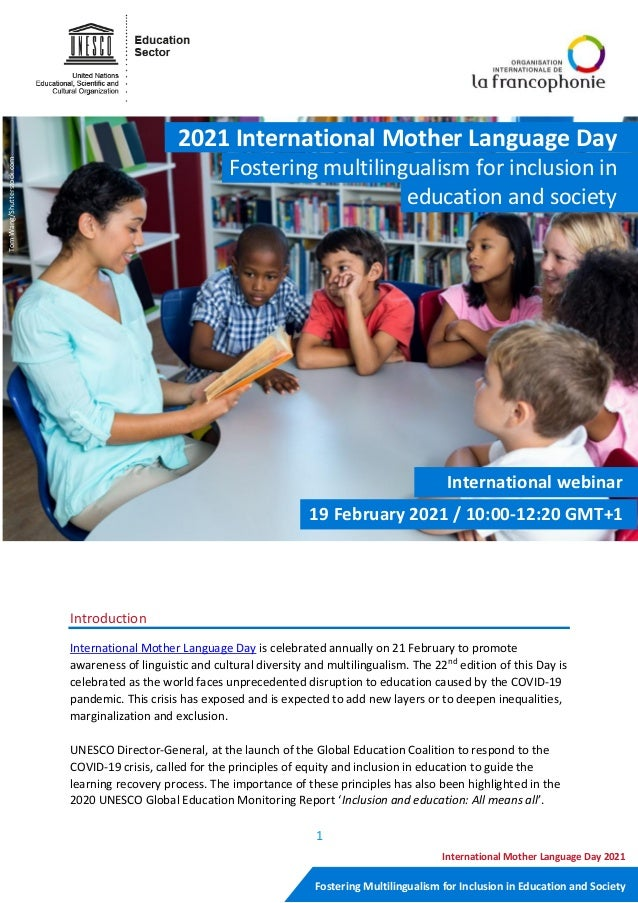 1 Fostering Multilingualism for Inclusion in Education and Society International Mother Language Day 2021 Introduction Int...