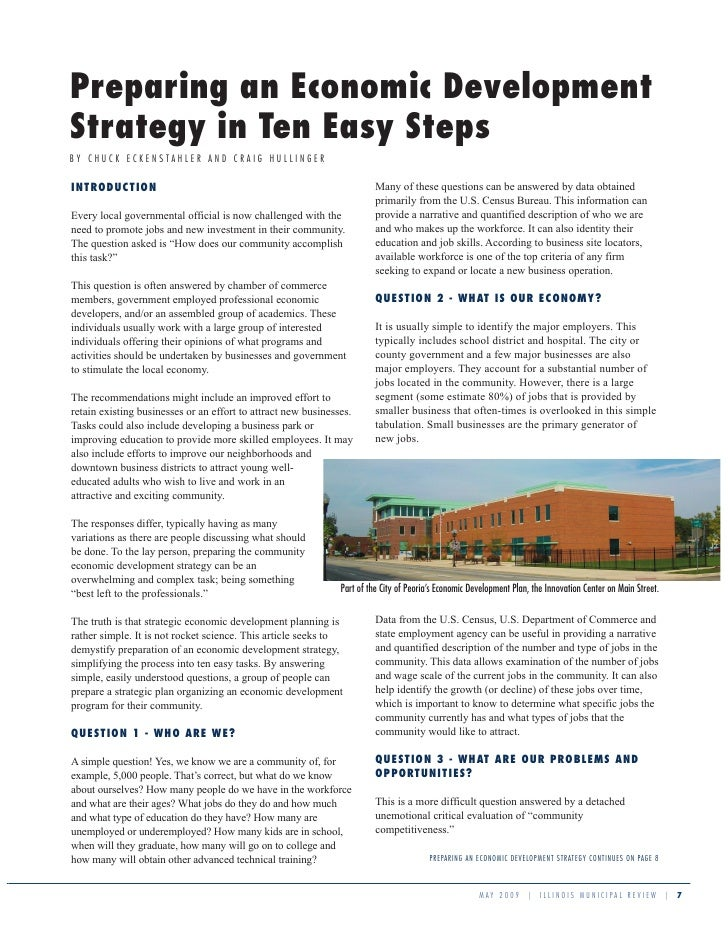 Preparing an Economic Development Strategy in Ten Easy Steps BY CHUCK ECKENSTAHLER AND CRAIG HULLINGER                    ...