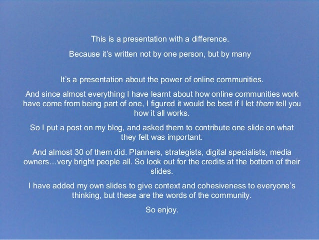 A Presentation About Community, By The Community Slide 3
