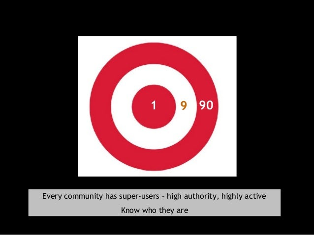 91 90 Every community has super-users – high authority, highly active Know who they are