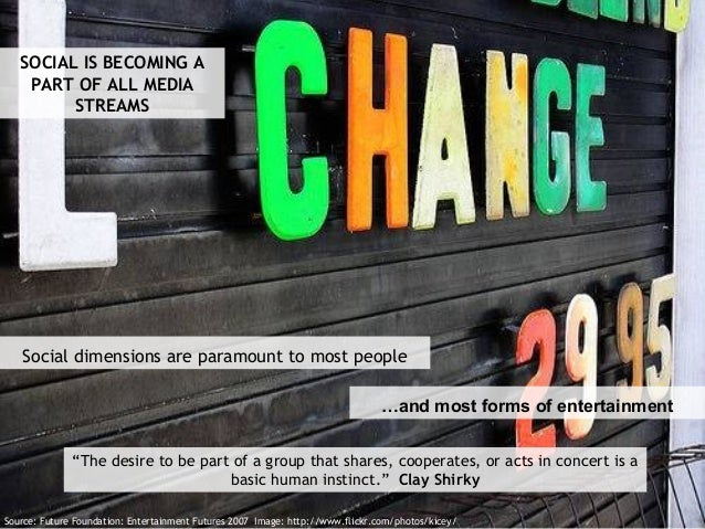 Source: Future Foundation: Entertainment Futures 2007 Image: http://www.flickr.com/photos/kicey/ SOCIAL IS BECOMING A PART...