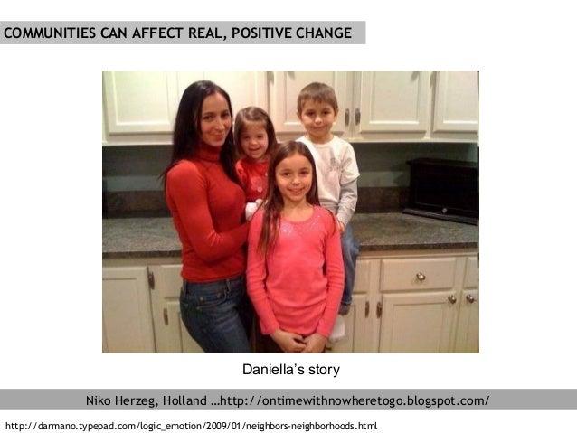 COMMUNITIES CAN AFFECT REAL, POSITIVE CHANGE Niko Herzeg, Holland …http://ontimewithnowheretogo.blogspot.com/ Daniella's s...