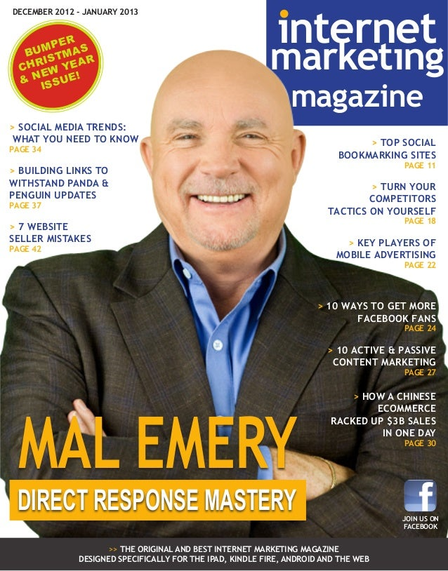 DECEMBER 2012 - JANUARY 2013  R MPE AS BU TM R IS CHR W YEA E & N SSUE! I  internet  marketing magazine  > SOCIAL MEDIA TR...