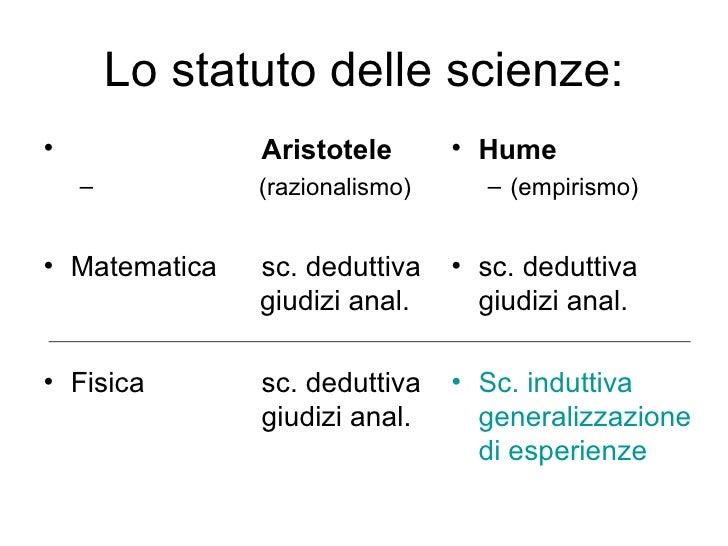 Lo statuto delle scienze: <ul><li>Aristotele </li></ul><ul><ul><li>(razionalismo) </li></ul></ul><ul><li>Matematica sc. d...