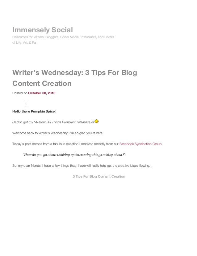 Immensely Social Resources for Writers, Bloggers, Social Media Enthusiasts, and Lovers of Life, Art, & Fun  Writer's Wedne...
