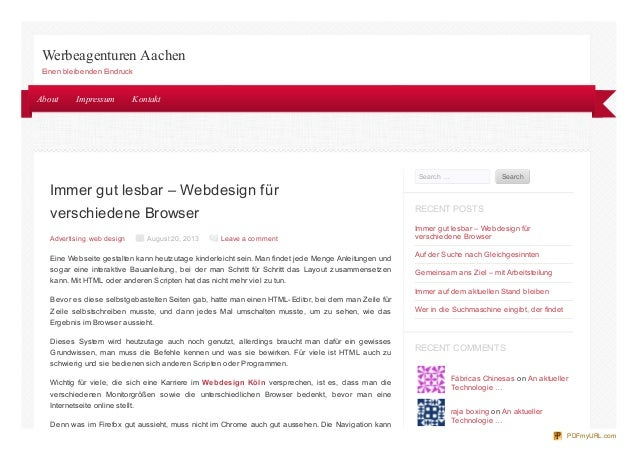Immer gut lesbar – Webdesign für verschiedene Browser Advertising, web design August 20, 2013 Leave a comment Eine Webseit...