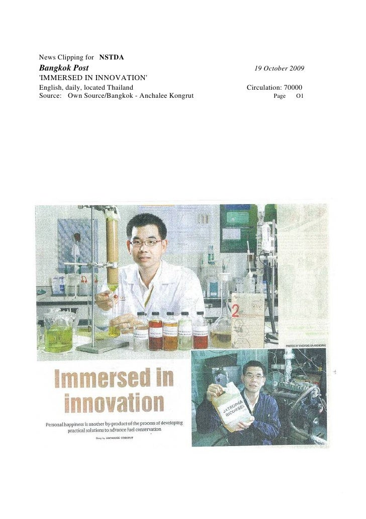 News Clipping for NSTDA Bangkok Post                                      19 October 2009 'IMMERSED IN INNOVATION' English...
