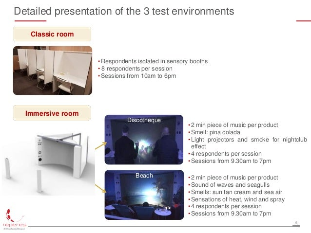 6 Detailed presentation of the 3 test environments •Respondents isolated in sensory booths • 8 respondents per session •Se...