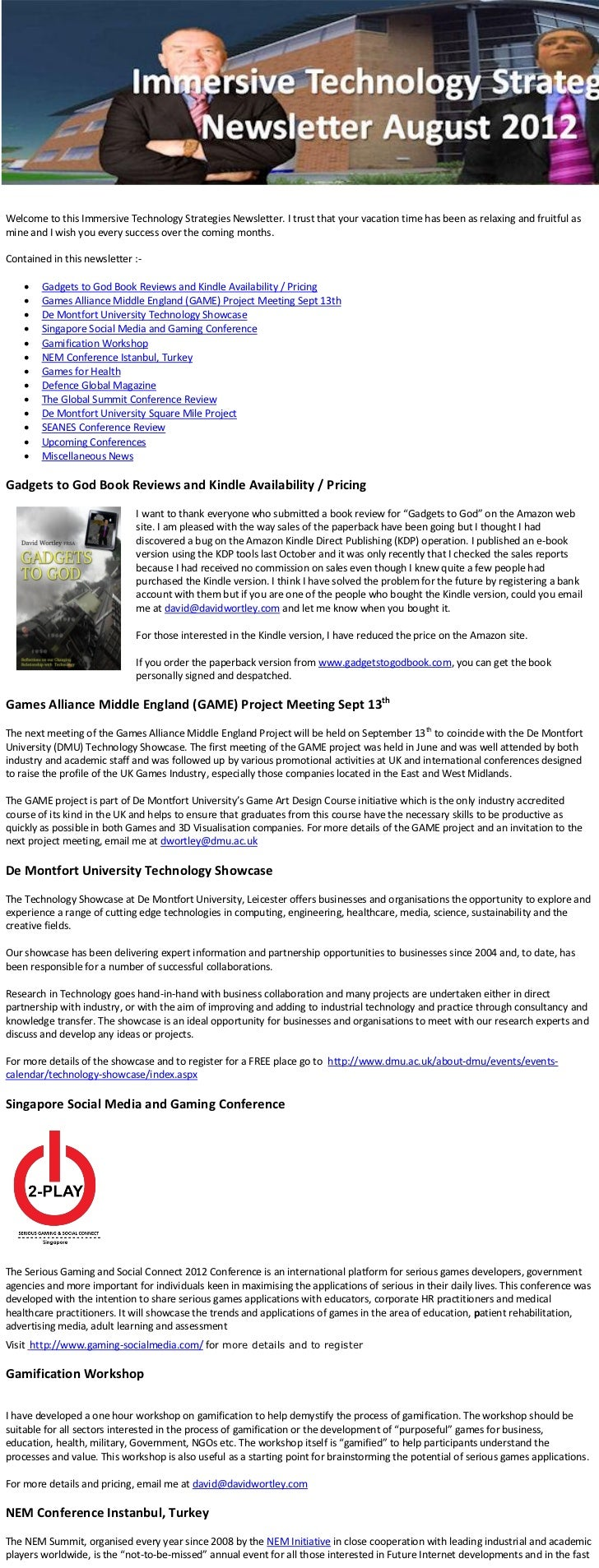 Welcome to this Immersive Technology Strategies Newsletter. I trust that your vacation time has been as relaxing and fruit...